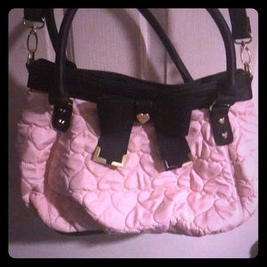 Cute pink Betsey Johnson bag with bow and hearts